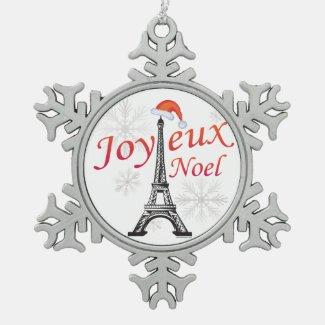 Joyeux Noel Snowflake Pewter Christmas Ornament