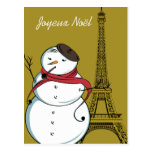 Joyeux Noël Snowman Postcard