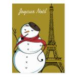 Joyeux Noël Snowman Postcards