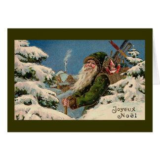 """Joyeux Noel"" tarjeta de Navidad del vintage """