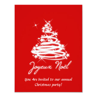 Joyeux Noël with Christmas Tree 4.25x5.5 Paper Invitation Card