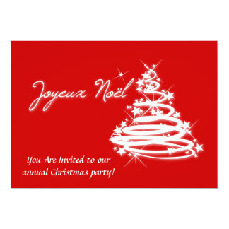 Joyeux Noël with Christmas Tree 5x7 Paper Invitation Card