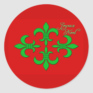 Joyeux Noel with Fleur de Lis Holiday Cards Classic Round Sticker