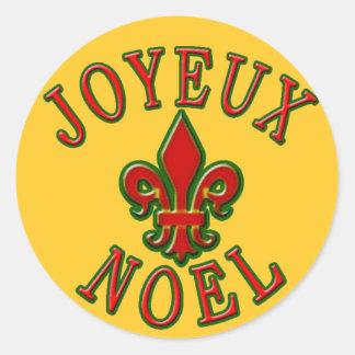 Joyeux Noel with Fleur de Lis Holiday Cards Classic Round Sticker