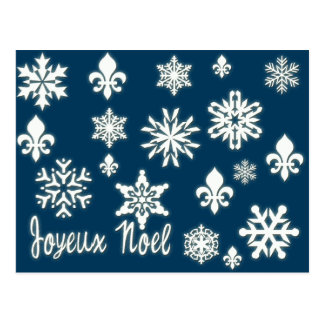 Joyeux Noel with Snowflakes Cards, Postcards