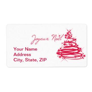 Joyeux rojo Noël con el árbol de navidad Etiquetas De Envío