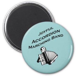 Joyful Accordion Marching Band 2 Inch Round Magnet