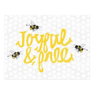 Joyful and Free bees Postcard