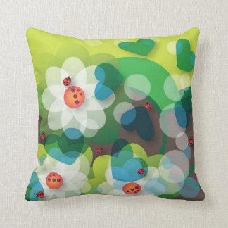 Joyful beetles throw pillows