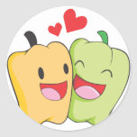 Joyful Bell Pepper Lovers Round Sticker