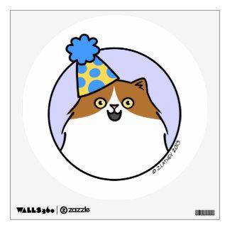 Joyful Birthday Cat - brown and white Wall Decal