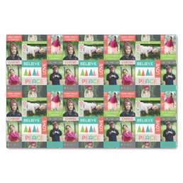 Joyful & Bright Holiday 5 Photo Collage Tissue Paper