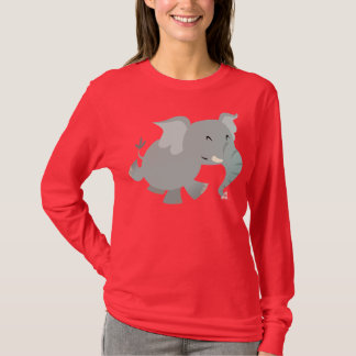 Joyful Cartoon Elephant Women T-shirt