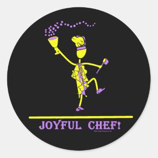 Joyful Chef Hot Yellow Classic Round Sticker