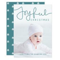 Joyful Christmas Photo Card - Hand Lettered
