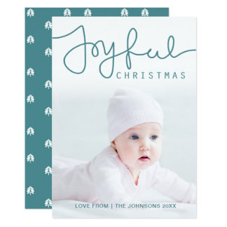 Joyful Christmas Photo Card - Hand Lettered