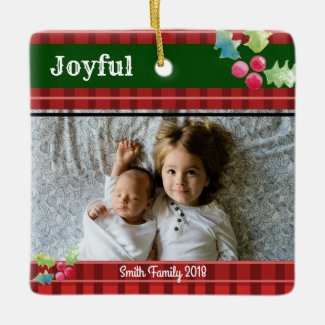 Joyful Christmas Red Plaid and Holly One Photo Ceramic Ornament