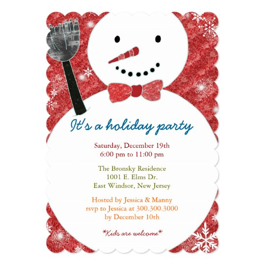 Joyful Cute Snowman Holiday Party Card