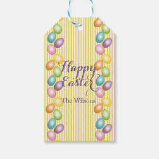Easter egg gift tags zazzle joyful easter eggs family or business name gift tags negle Image collections
