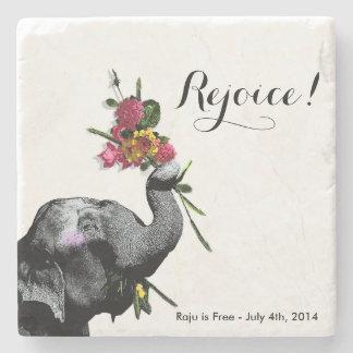 Joyful Elephant - Live for the Day! Stone Beverage Coaster