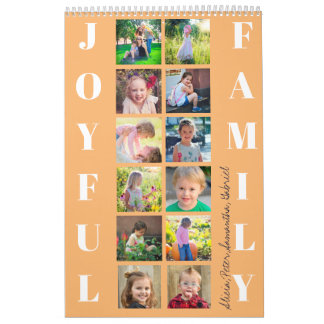 JOYFUL FAMILY 12 Photos Typography Monogram Orange Calendar