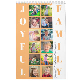 JOYFUL FAMILY 12 Photos Typography Peach White Calendar