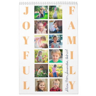 JOYFUL FAMILY Custom 12 Photos Typography Monogram Calendar