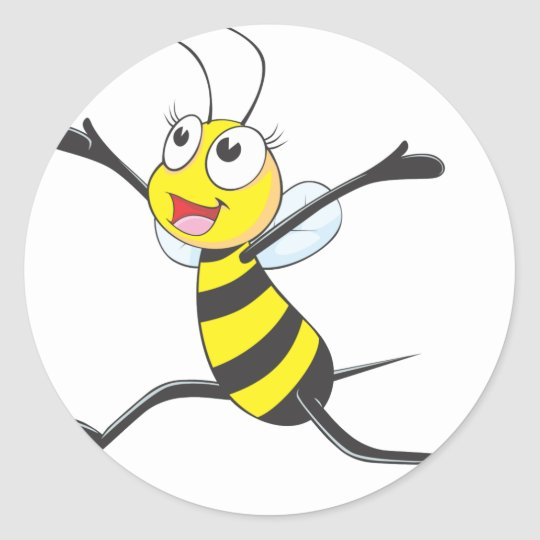 Joyful Female Bee Classic Round Sticker