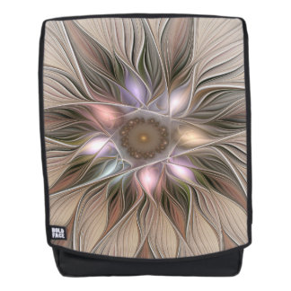 Joyful Flower Abstract Beige Brown Floral Fractal Backpack