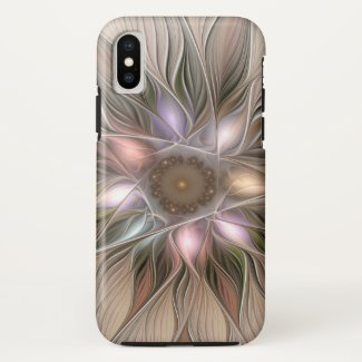 Joyful Flower Abstract Beige Brown Floral Fractal Case-Mate iPhone Case