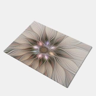 Joyful Flower Abstract Beige Brown Floral Fractal Doormat