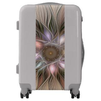 Joyful Flower Abstract Beige Brown Floral Fractal Luggage