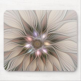 Joyful Flower Abstract Beige Brown Floral Fractal Mouse Pad