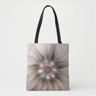 Joyful Flower Abstract Beige Brown Floral Fractal Tote Bag