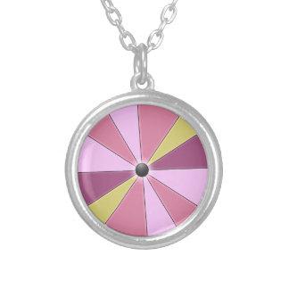 Joyful Happy Pink Color Beams Silver Plated Necklace