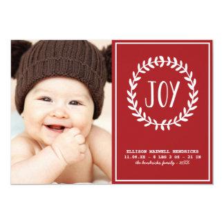 "Joyful Hearts   Holiday Birth Announcement 5"" X 7"" Invitation Card"
