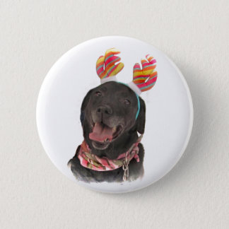 Joyful Holiday Black Labrador Retriever Dog Button