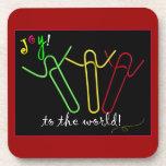 Joyful holiday clips beverage coaster