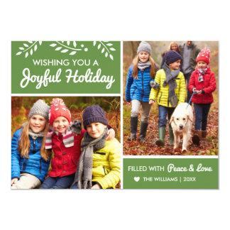 Joyful Holiday | Green Photo Card