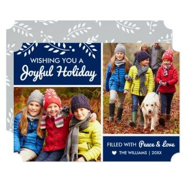 Christmas Themed Joyful Holiday | Navy Multi-Photo Card