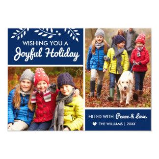 Joyful Holiday | Navy Photo Card