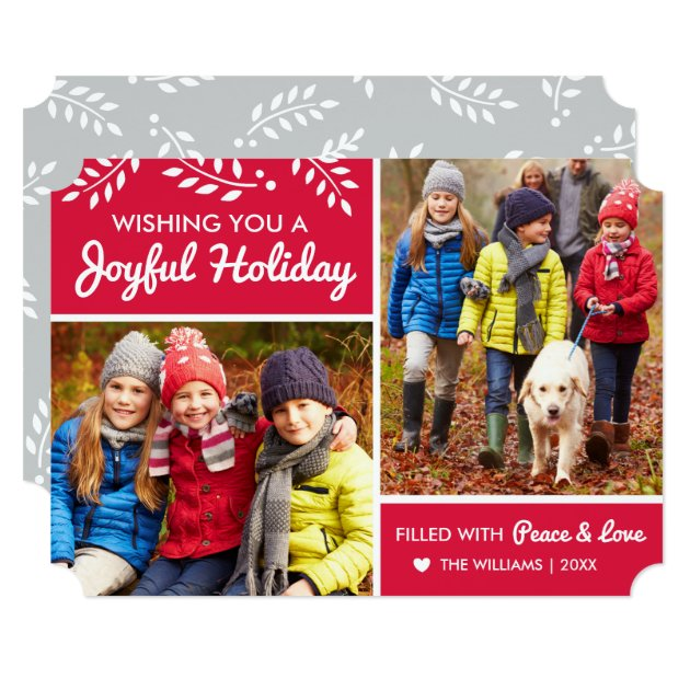 Joyful Holiday | Red Multi-Photo Card (front side)