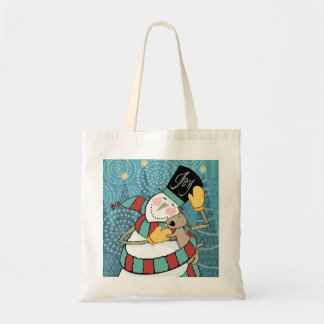 Joyful Holiday Snowman Wraps Puppy in Scarf Canvas Bags