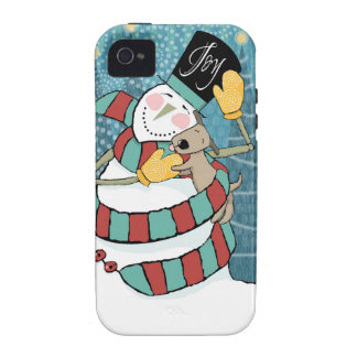 Joyful Holiday Snowman Wraps Puppy in Scarf Vibe iPhone 4 Case