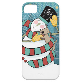 Joyful Holiday Snowman Wraps Puppy in Scarf iPhone 5 Cases