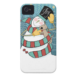 Joyful Holiday Snowman Wraps Puppy in Scarf iPhone 4 Case-Mate Case