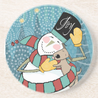 Joyful Holiday Snowman Wraps Puppy in Scarf Drink Coasters