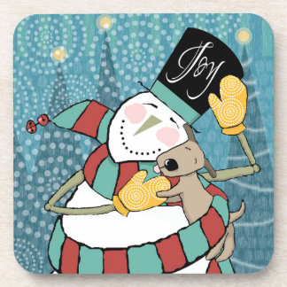 Joyful Holiday Snowman Wraps Puppy in Scarf Beverage Coasters