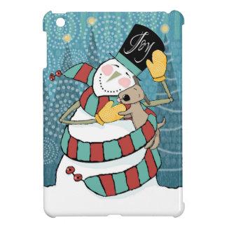 Joyful Holiday Snowman Wraps Puppy in Scarf iPad Mini Covers