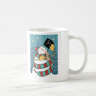 Joyful Holiday Snowman Wraps Puppy in Scarf Coffee Mugs